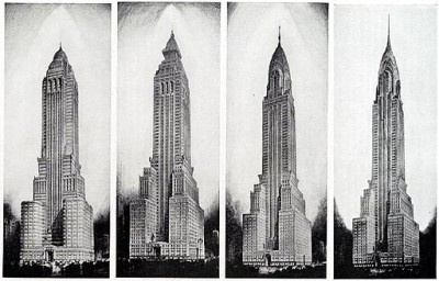 Different versions of Van Alen's Chrysler Building.