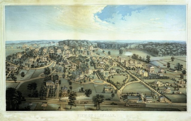 Bird's-eye view of Glendale, Ohio, founded in 1851 and considered the first garden village in America.
