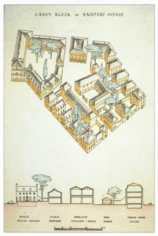 Diagram of urban block, Poundbury, Dorset, by Leon Krier
