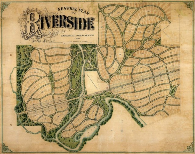 Riverside, outside of Chicago, designed by Frederick Law Olmsted