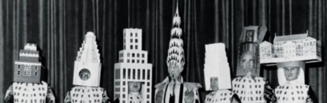 William Van Alen (center), architect of the Chrysler Building, at a society party celebrating the completion of his building in 1931.
