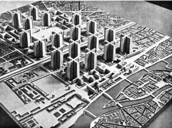 Corbusier's 1925 Plan Voisin to rebuild Paris