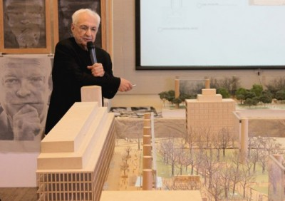 Frank Gehry and proposed Eisenhower memorial. (inhabitat.com)