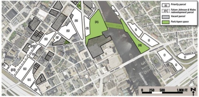 Numbered development parcels on Route 195 land, in Providence. (I-195 Redevelopment District Commission)