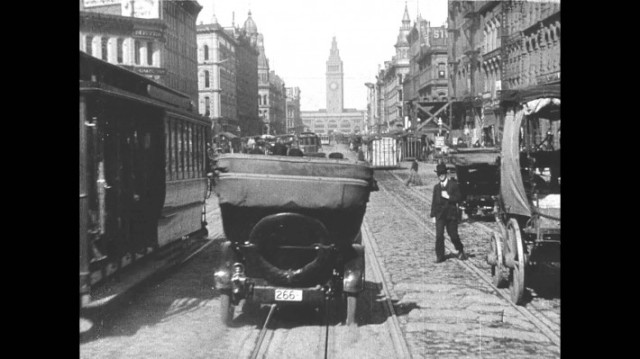 San Francisco's Market Street seen from cable car, April 14, 1906. (youtube.com)
