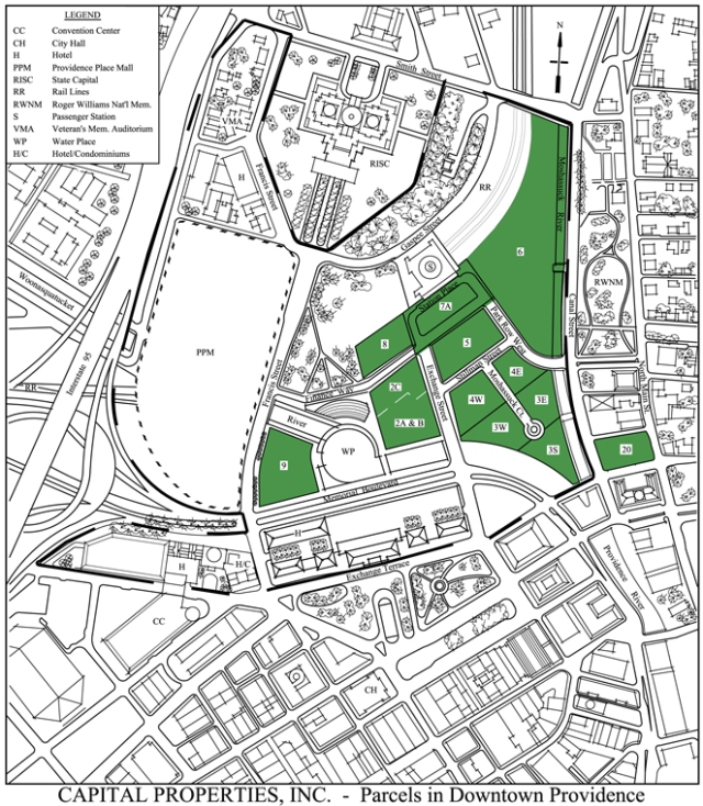 Map of Capital Center District showing numbered development parcels.