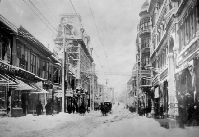 View up Westminster Street, circa 1890, past Hoppin Homestead Building, at right. (Journal archives)