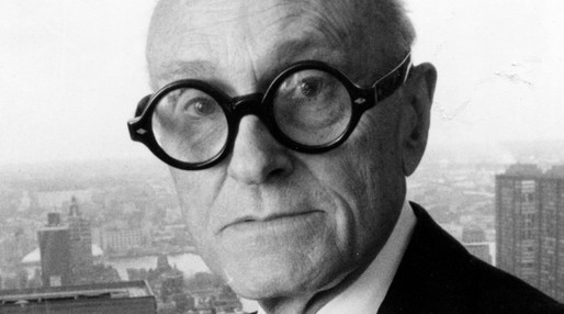 Philip Johnson in his Corbusier spectacles. (archinect)