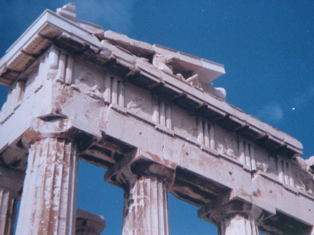 At the Parthenon in 1998 or thereabouts. (Photo by David Brussat)