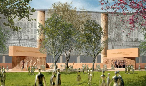 Sculptural core of Frank Gehry's proposed Eisenhower memorial, in Washington. (Eisenhower Memorial Commission)