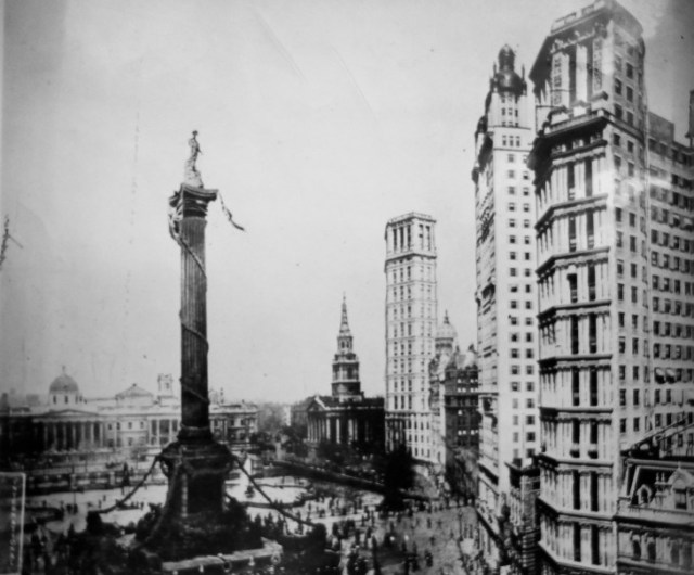 """A 1920 collage of Trafalgar Square, in London, and New York's Newspaper Row. Written on rear of file photo: """"Londoners' idea of how Americans would transform Trafalgar Square."""" (Providence Journal archives)"""