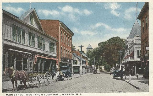 Main Street in Warren, R.I., viewed from Town Hall. (Postcard)