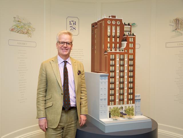 Peter Pennoyer stands next to model of 151 E78th St. (Julie Starrett/YIMBY)