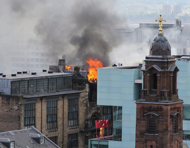 Glasgow School of Art during yesterday's blaze.
