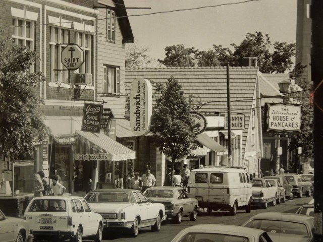 Thayer Street in the 1970s. Look, ma! No SUVs!