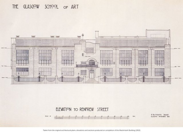 Renfrew Street (front) elevation drawing of Glasgow School of Art.