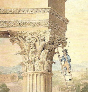 Student measuring the Temple of Castor and Pollux (detail), in Rome, by Henry Parke. (John Soane's Museum, London)