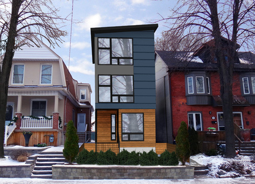 Modernism in retreat architecture here and there for Narrow lot modern infill house plans