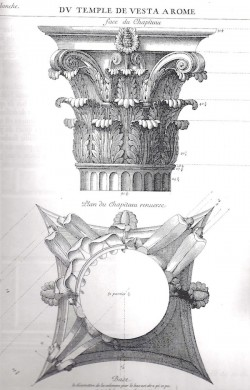 Corrected drawing of the Vesta capital by Desgodetz