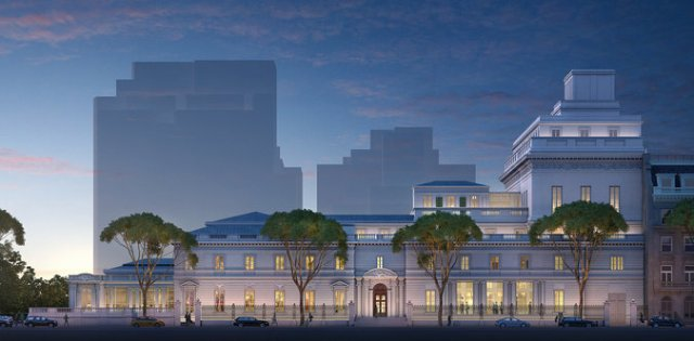 Proposed addition to Frick rises gently from center right of image. (NYT)