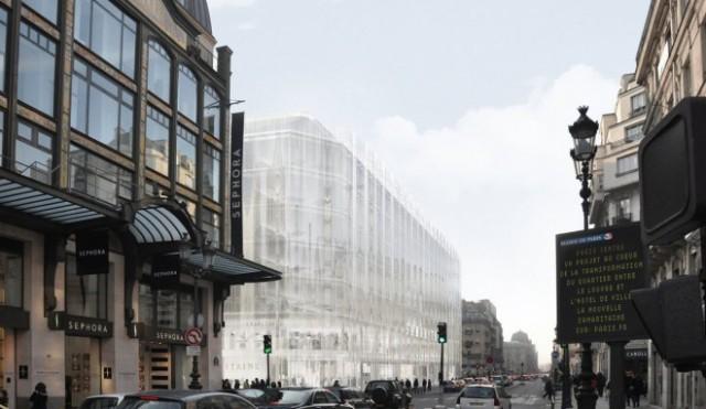 The proposed facade of La Samaritaine, in Paris, facing the Rue Rivoli.