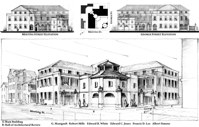 The first of two schemes presented by Bevan & Liberatos as counter proposals to the proposed Clemson building in Charleston.