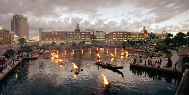 Waterplace at dusk on a WaterFire night, in the year 2000. (Photo by Richard Benjamin, RichardBenjamin.com)