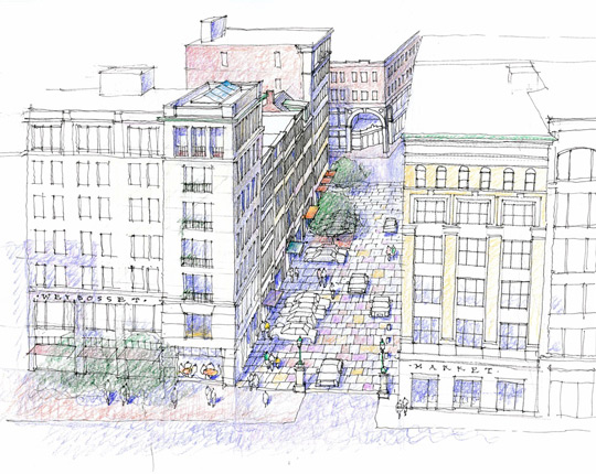 Illustration by Randall Imai, of DPZ, of proposed garage flanked by apartments on the Grant's Block, in downtown Providence.