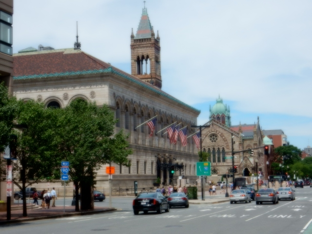 Boston Public Library and Old South Church on Dartmouth Street.