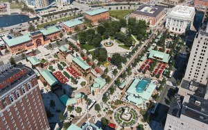 Bird's eye view of Union Studio's design of Kennedy Plaza.