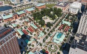 Bird's eye view of Union Studio's design of Kennedy Plaza.