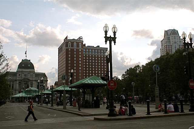 Kennedy Plaza's intermodal bus terminal and five elegant waiting kiosks. (thepolisblog.com)