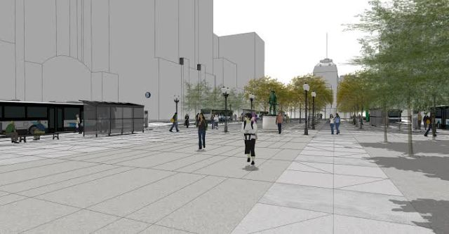 Latest design for Kennedy Plaza, in downtown Providence. (Journal archives)