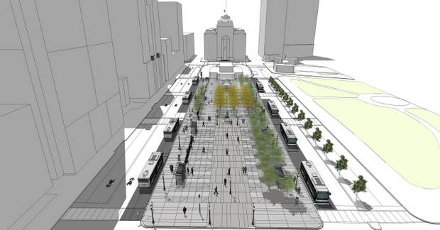Kennedy Plaza renovation as pictured in a rendering provided by the Department of Planning & Development.