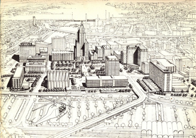Downtown Providence 1970 Plan. This was the image of the city's modernist establishment in 1960. (gcpvd.com)