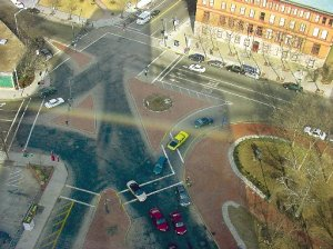 """Emmitt Square today, with, clockwise from lower left, Eddy, Fountain, Sabin, West Exchange, Francis, Exchange Terrace and Dorrance streets entering or leaving the """"square."""""""