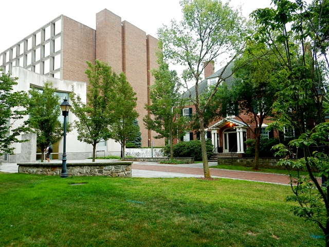 Barus & Holley Hall looms near Hinckley House, right, at Brown University's School of Engineering, in Providence. (Photo by David Brussat)