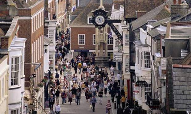 High Street, Winchester, southwest of London.
