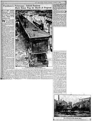 News story of buildings' demolition in 1920. (Journal archives)