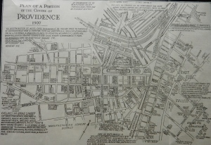 Tourist map, downtown Providence, 1907. (Brussat archives)