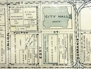 Plat map, segment, downtown Providence, 1895. (Brussat archives)