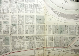 Plat map, downtown Providence, 1875. (Brussat archives)
