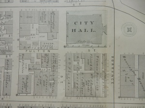Plat map, segment, downtown Providence, 1875. (Brussat archives; all maps, click to enlarge)