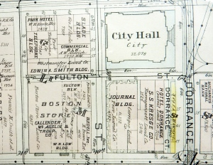 Plat map, segment, downtown Providence, 1918. (Brussat archives)