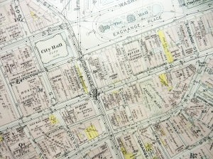 Plat map, downtown Providence, 1918. (Brussat archives)