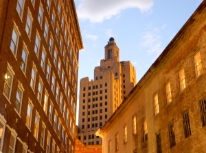 Downtown Providence at dusk. (Photo by David Brussat)