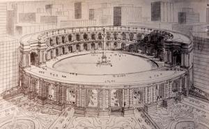 Proposed classical opera house at Columbus Circle, NYC, John Barrington Bayley. (The Golden Circle)