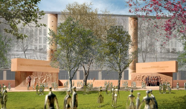 Sculptural core of Gehry design for Eisenhower memorial, with main tapestry behind it. (Washington Post)