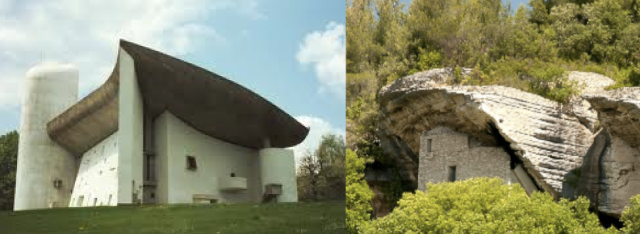Here is Le Corbusier's Ronchamps, and beside it, Les Beaumettes, an informal settlement from about 1500 in Provence.