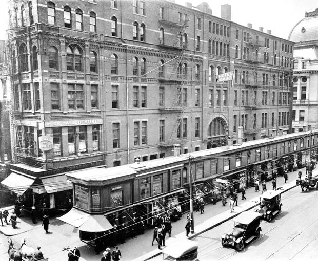 The name of the narrow building in front of the Hotel Dorrance, razed in 1920. remains a mystery. (Journal archives)